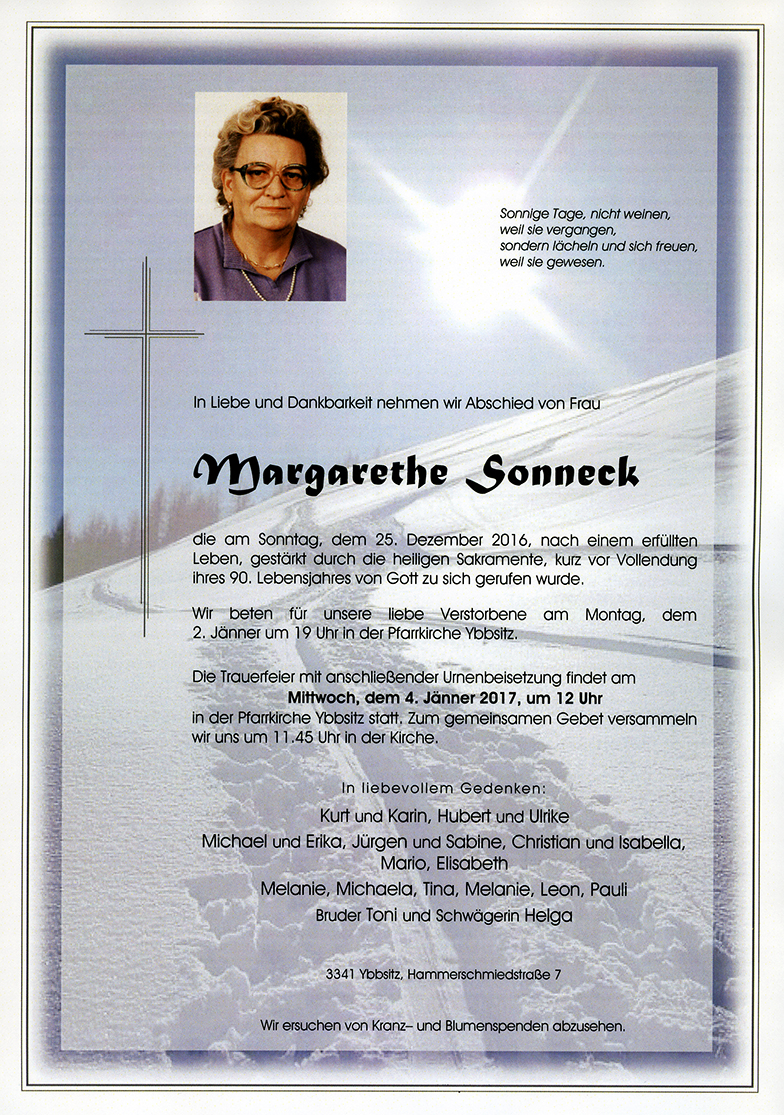 Parte Margarethe Sonneck